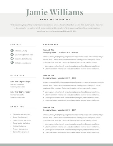 Classic Resume Template 120610