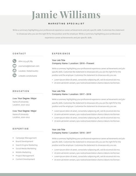 Classic Resume Template 120610