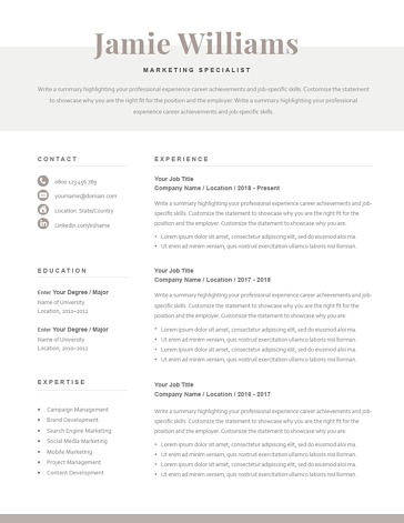 Classic Resume Template 120620