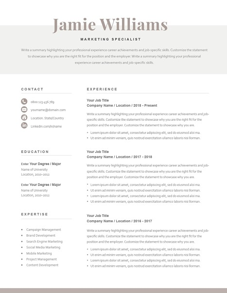 Classic Resume Template 120620