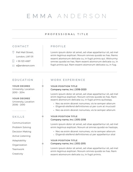 Classic Resume Template 120630