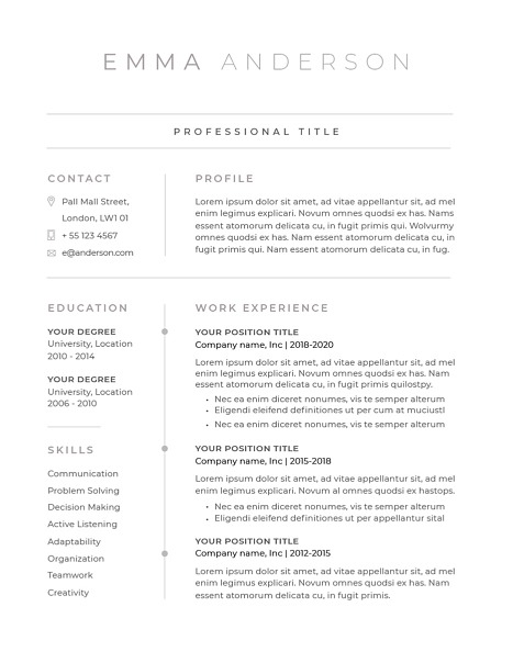 Classic Resume Template 120640