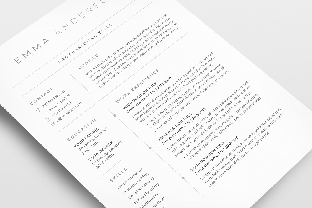 classic resume template 120650  color  green  ms word