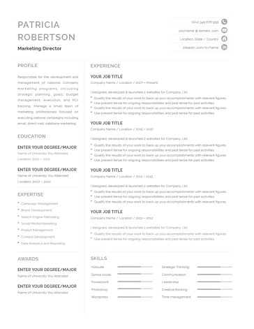 Classic Resume Template 120700