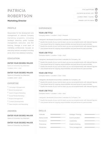 Classic Resume Template 120700