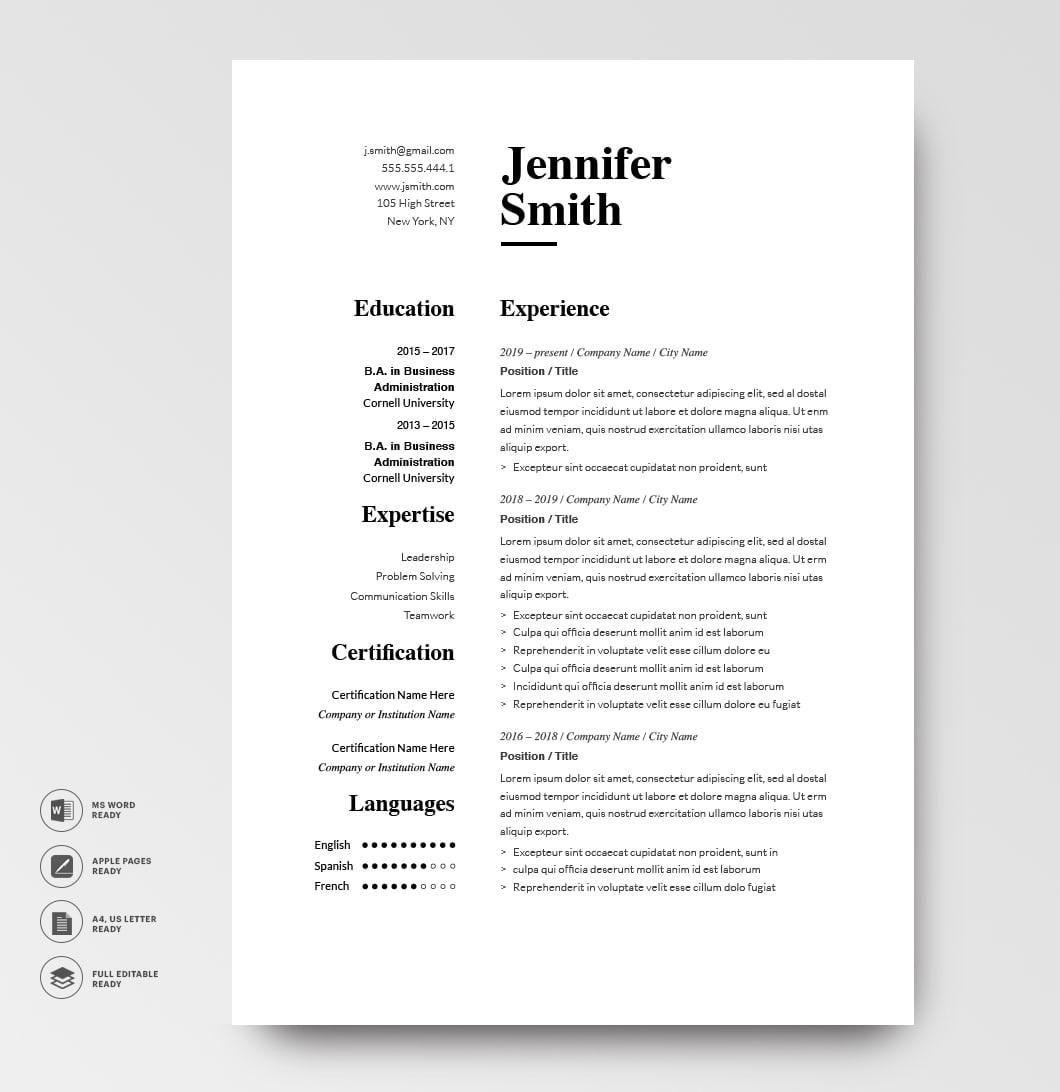 Classic Resume Template 120750 Grey