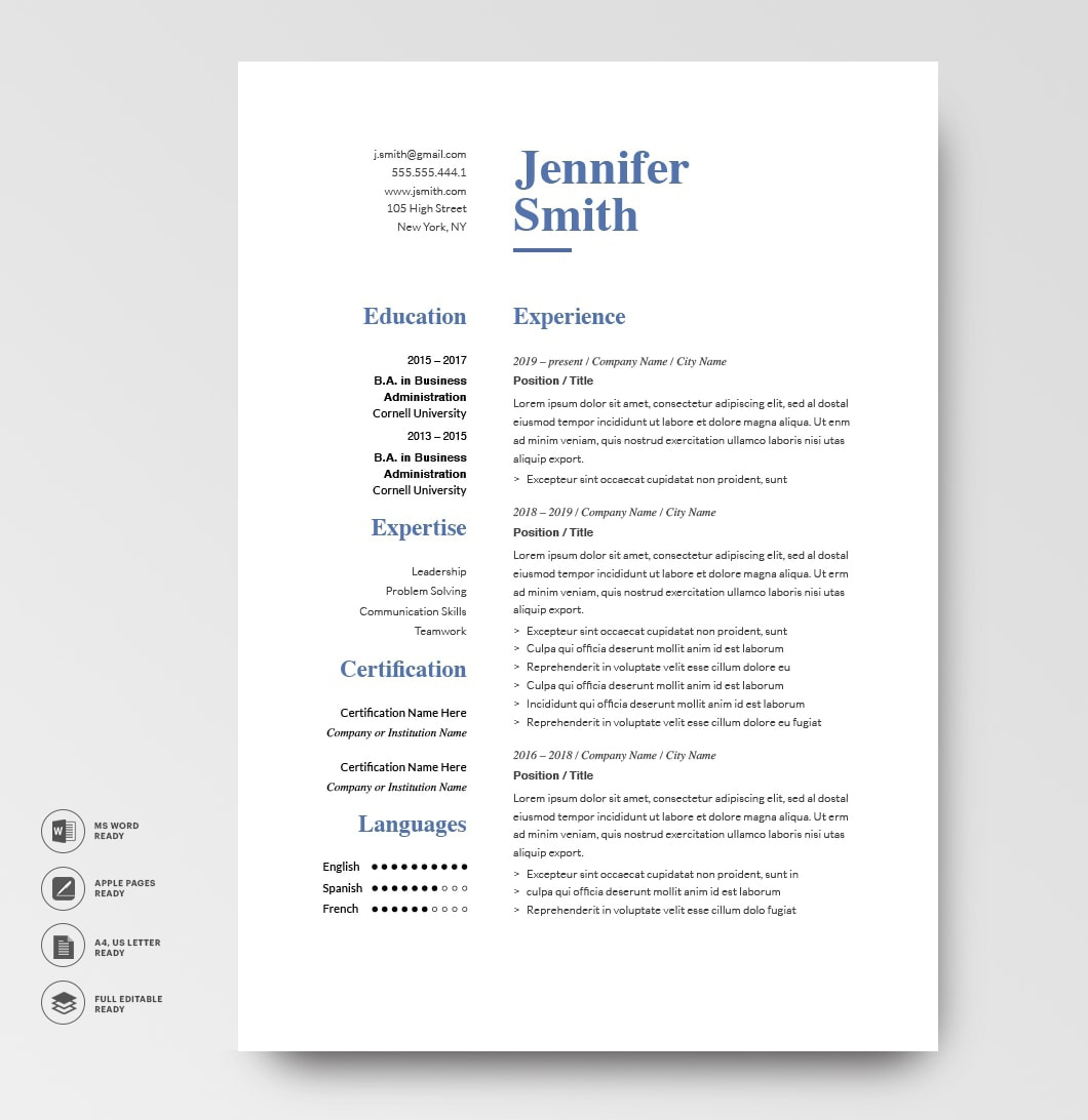 Classic Resume Template 120760 Grey