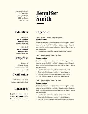 Classic Resume Template 120780