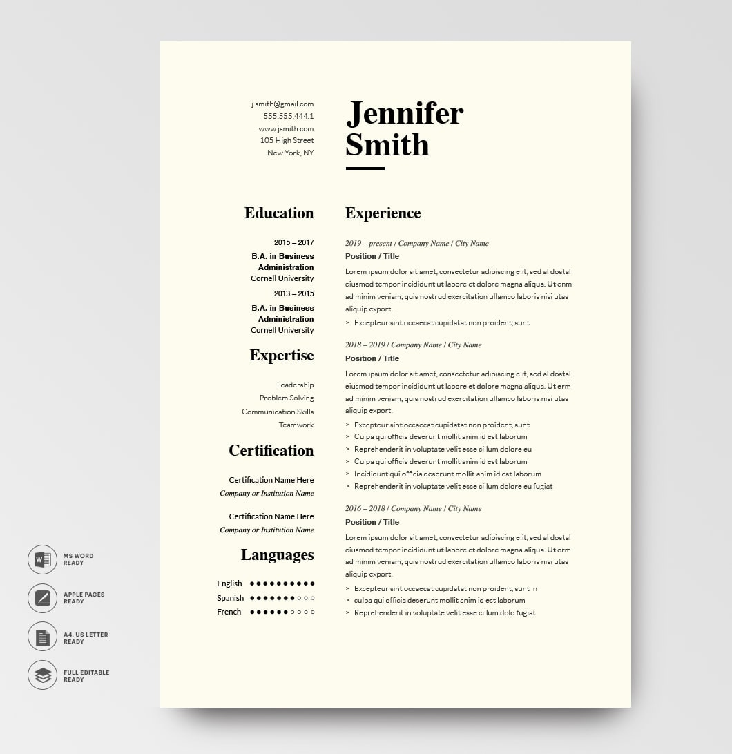 Classic Resume Template 120780 Grey