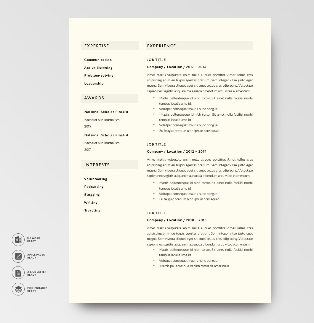 Classic Resume Template 120800 2page