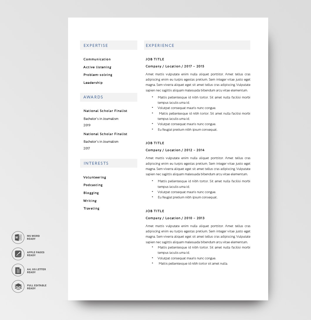 Classic Resume Template 120810 2page