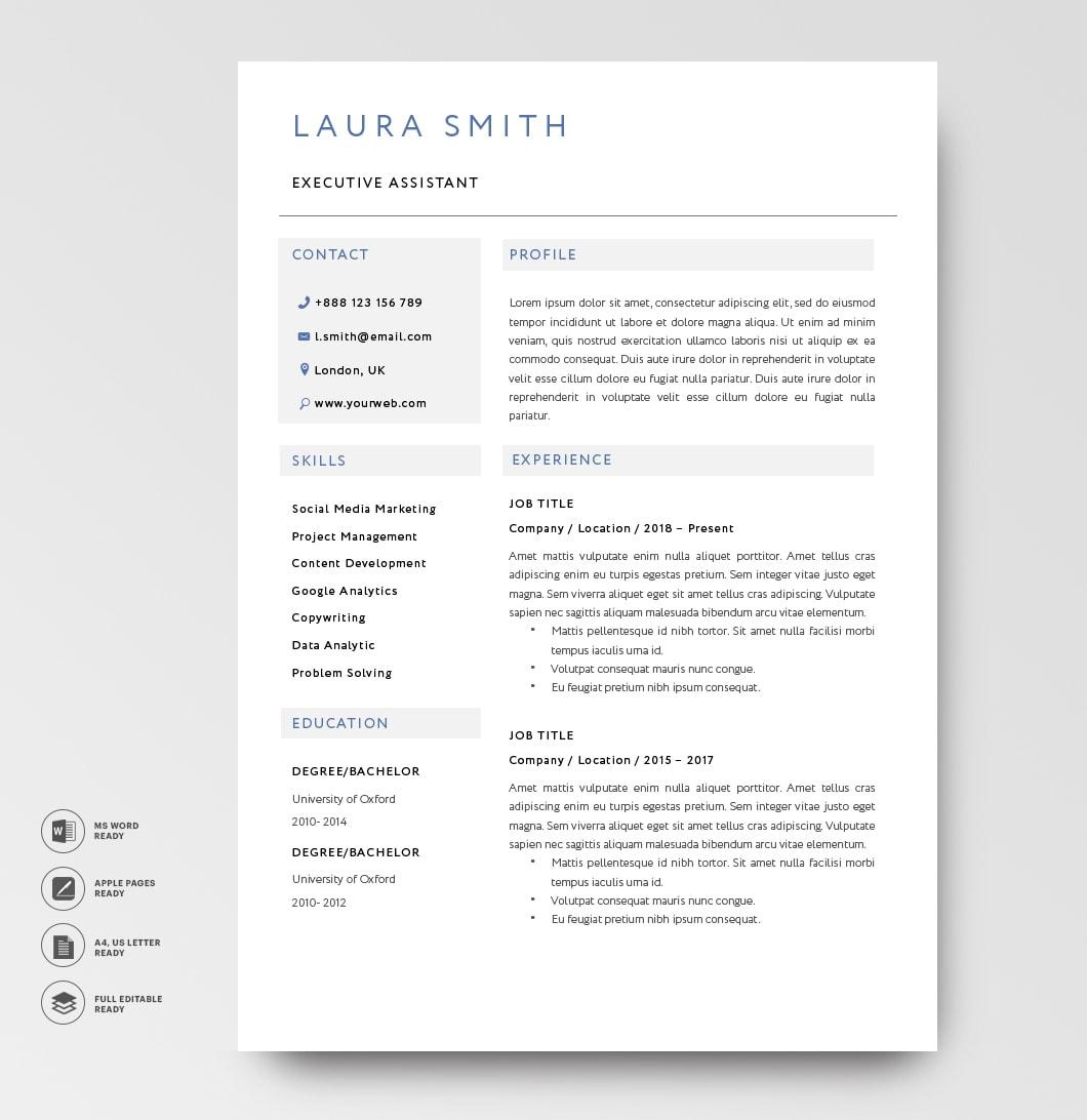 Classic Resume Template 120810 Blue