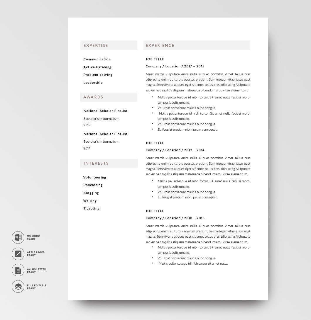 Classic Resume Template 120820 2page