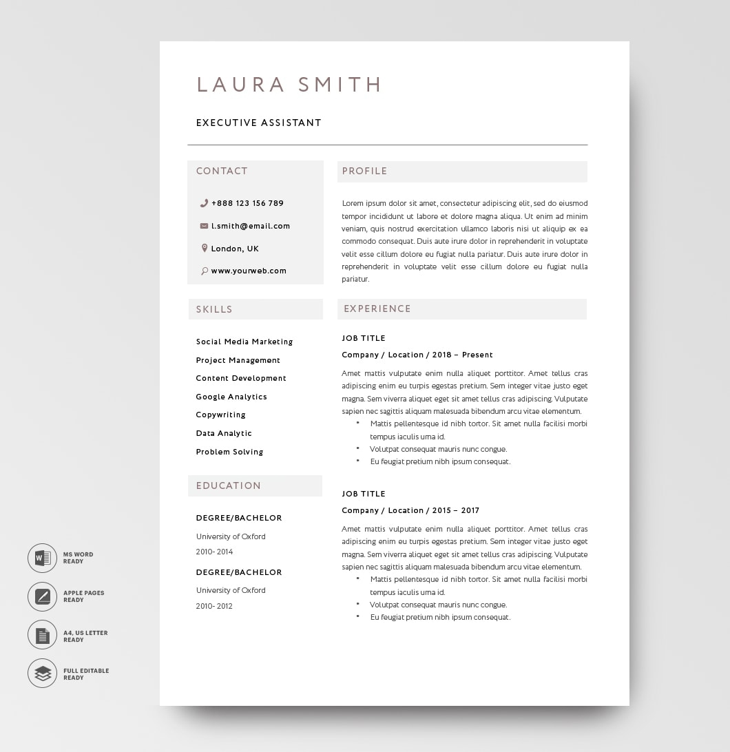 Classic Resume Template 120820 Brown