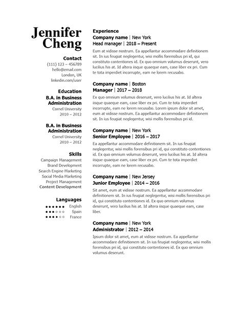 Classic Resume Template 120830