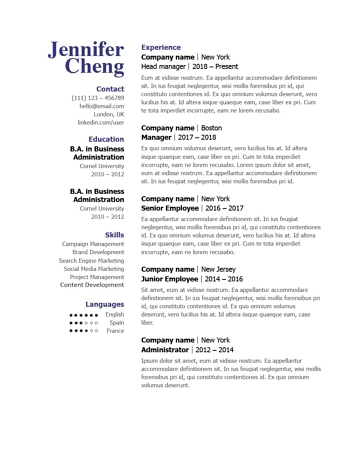 Classic Resume Template 120840