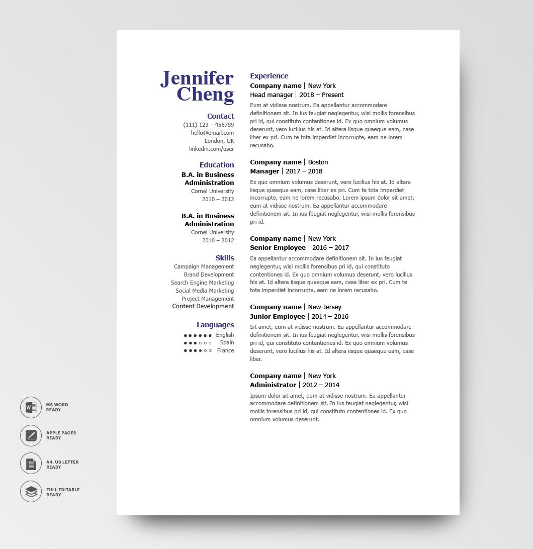 Classic Resume Template 120840 4