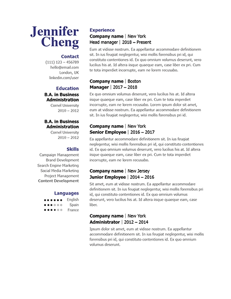 Classic Resume Template 120840