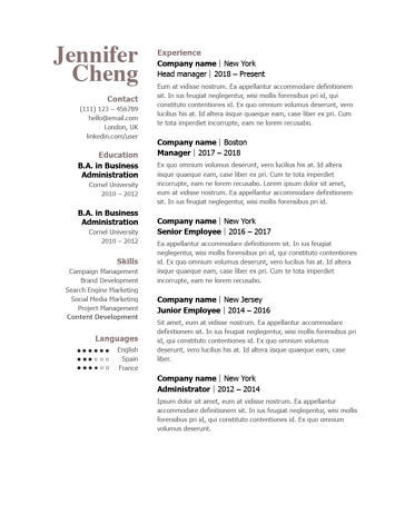 Classic Resume Template 120850