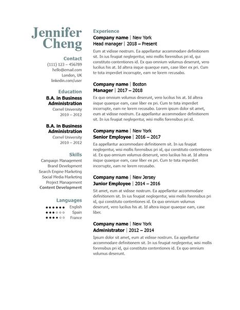 Classic Resume Template 120860