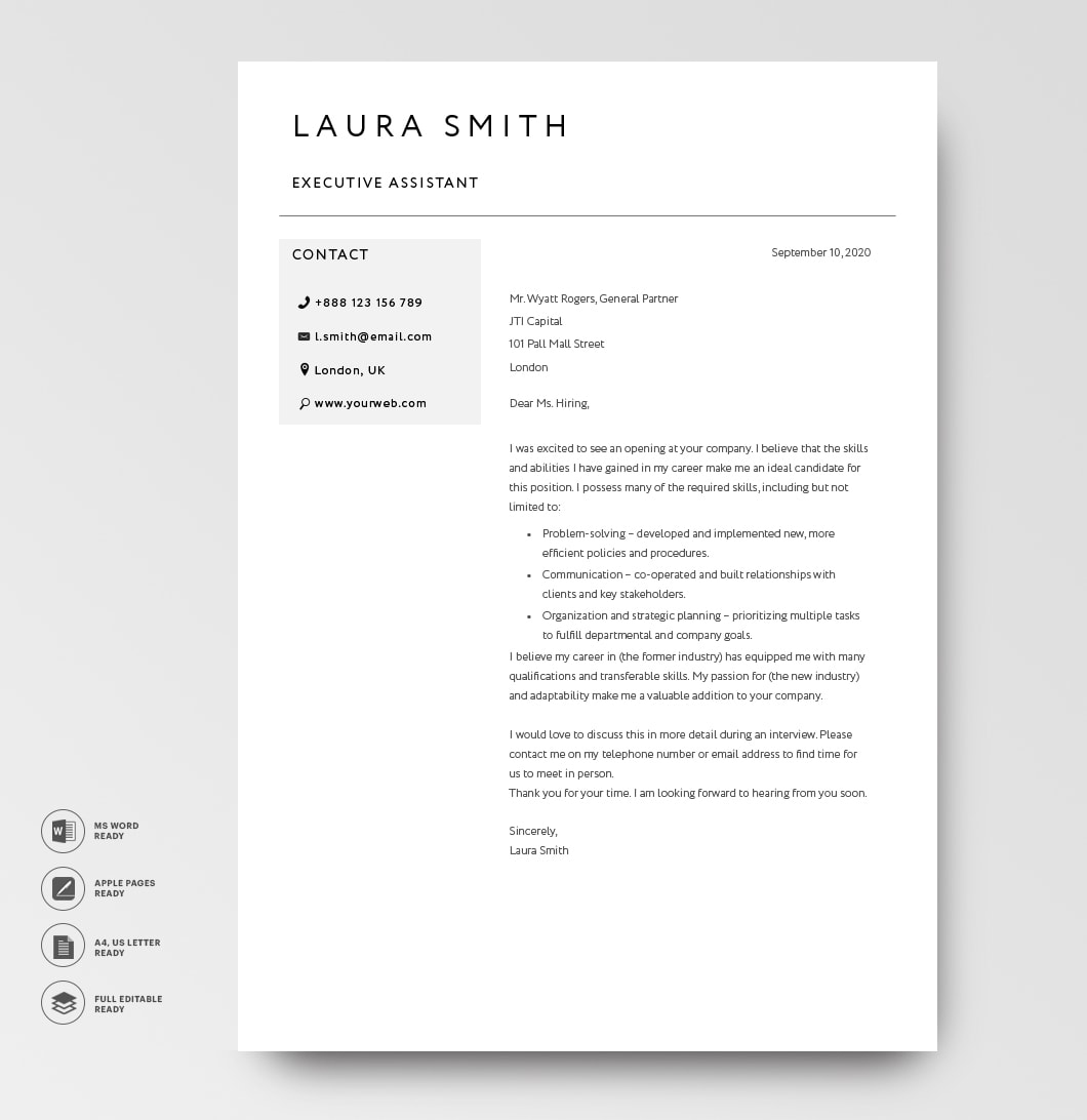 Cover Letter Template 120790 Grey