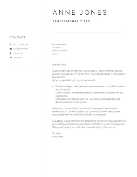 Elegant Cover Letter Template 120950