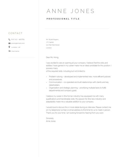 Elegant Cover Letter Template 120960
