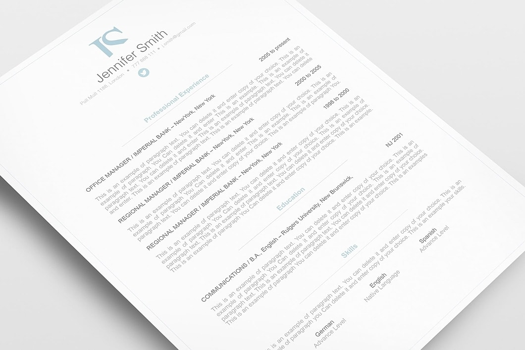 Elegant Resume Template 110830 3