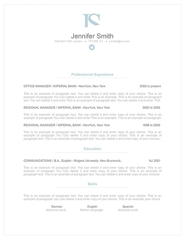 Elegant Resume Template 110830
