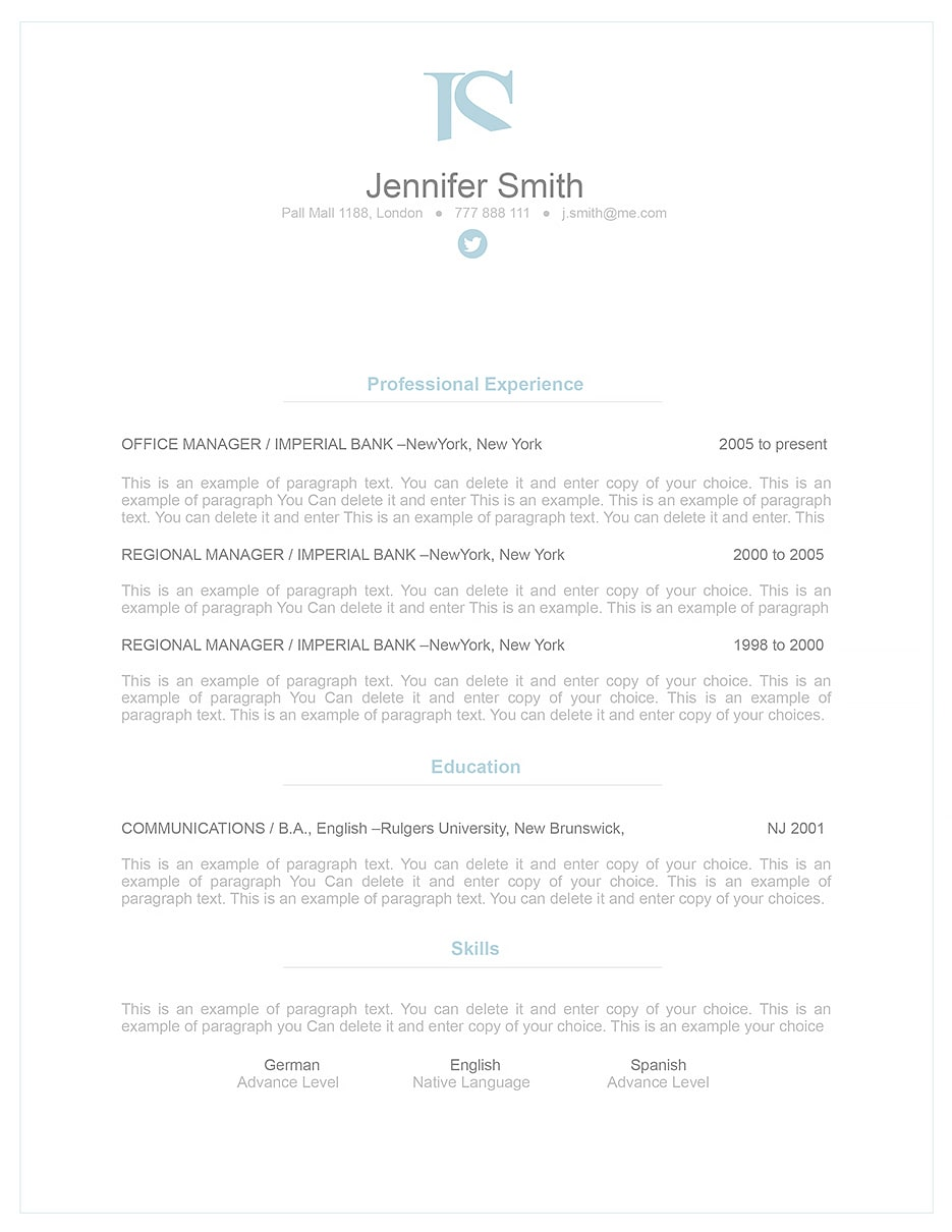 Elegant Resume Template 110830 Templates By Resumeway