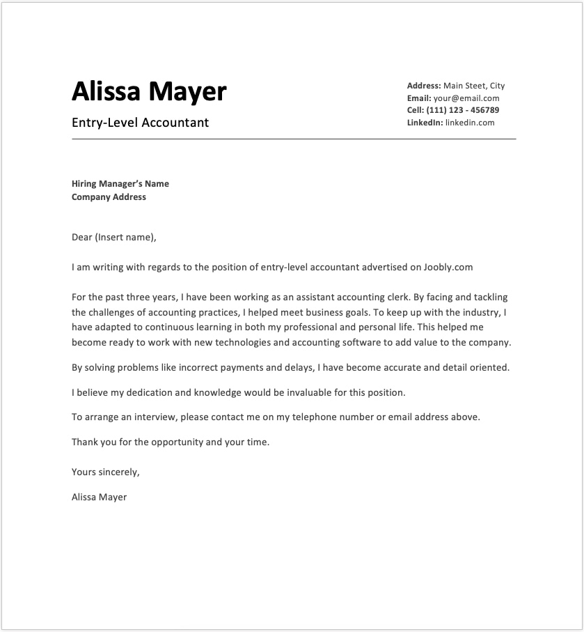 Entry Level Cover Letter