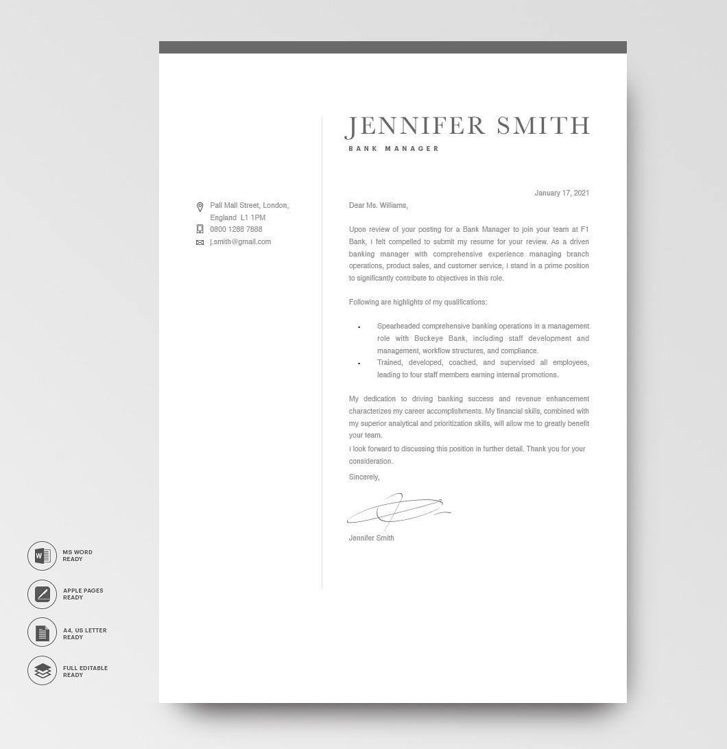 Modern Cover Letter Template 120290