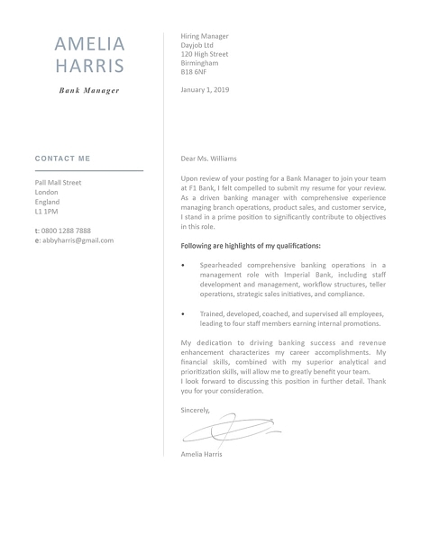 Modern Cover Letter Template 120430
