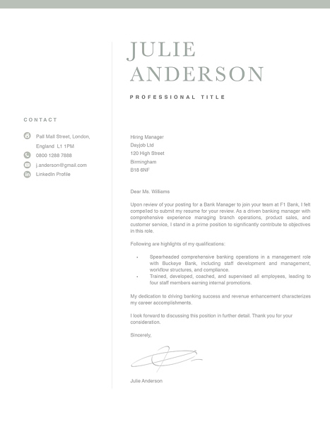 Modern Cover Letter Template 120520