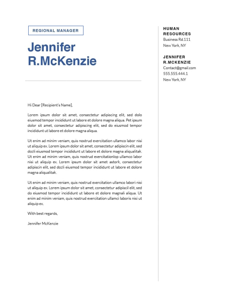Modern Cover Letter Template 120720