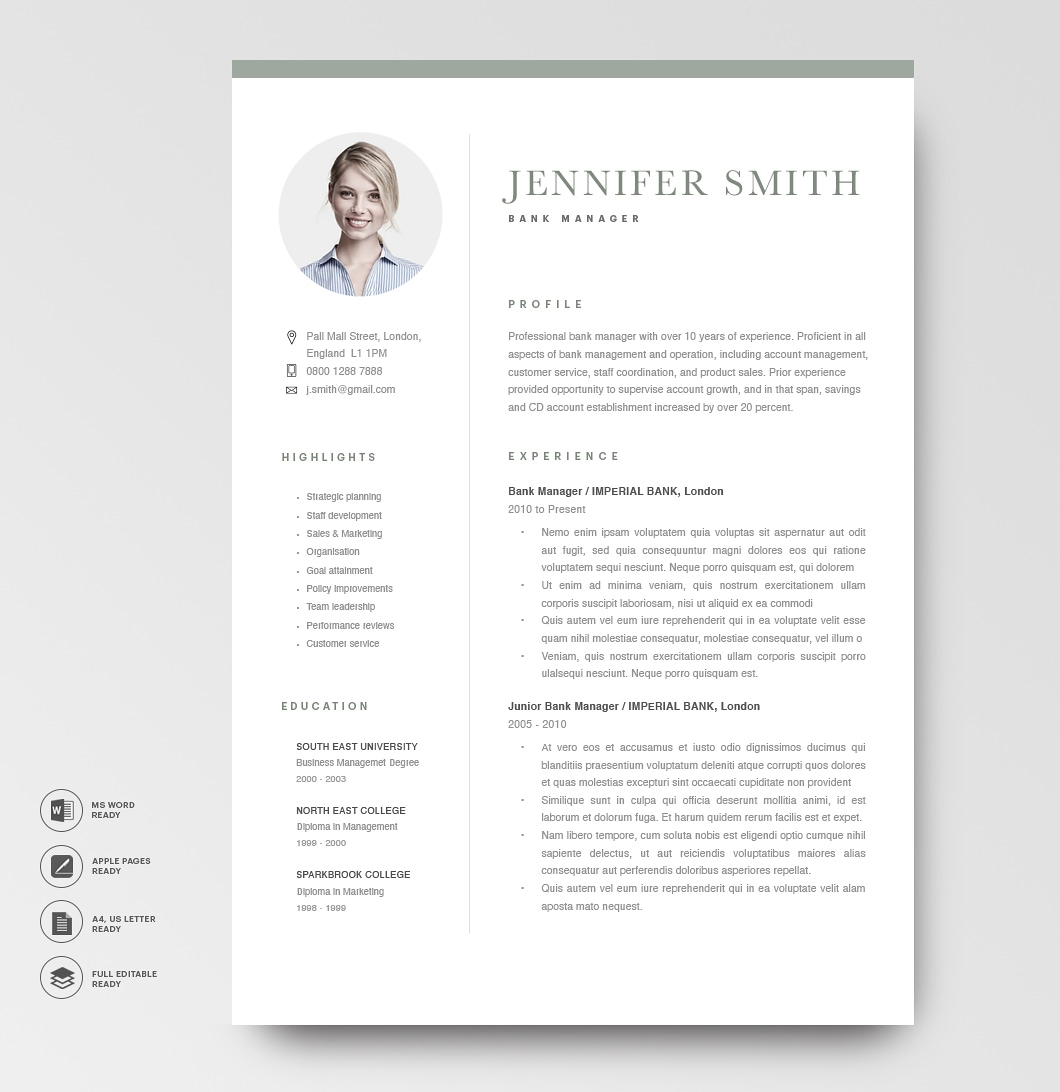 Modern Resume Template 120300 6