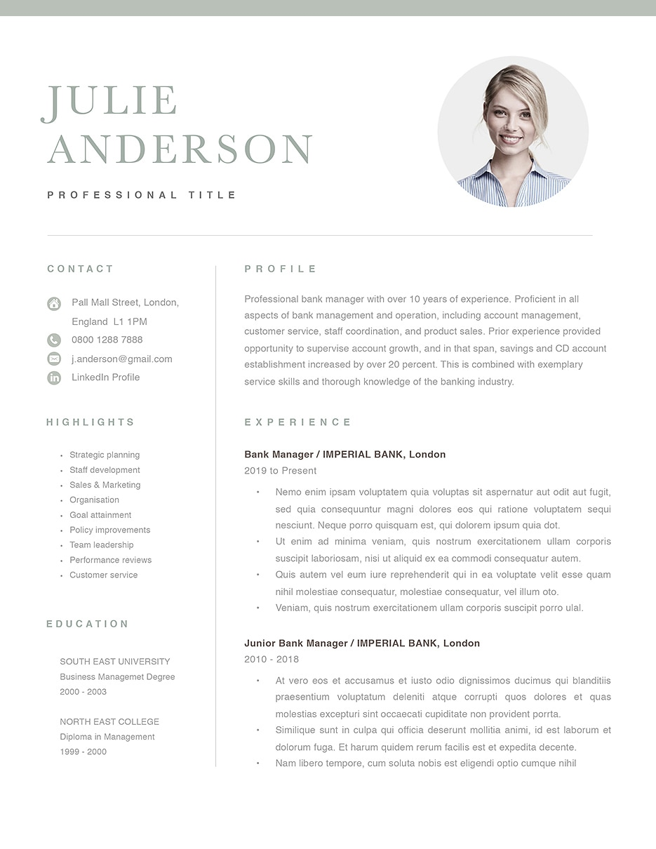modern resume template 120520  color  green