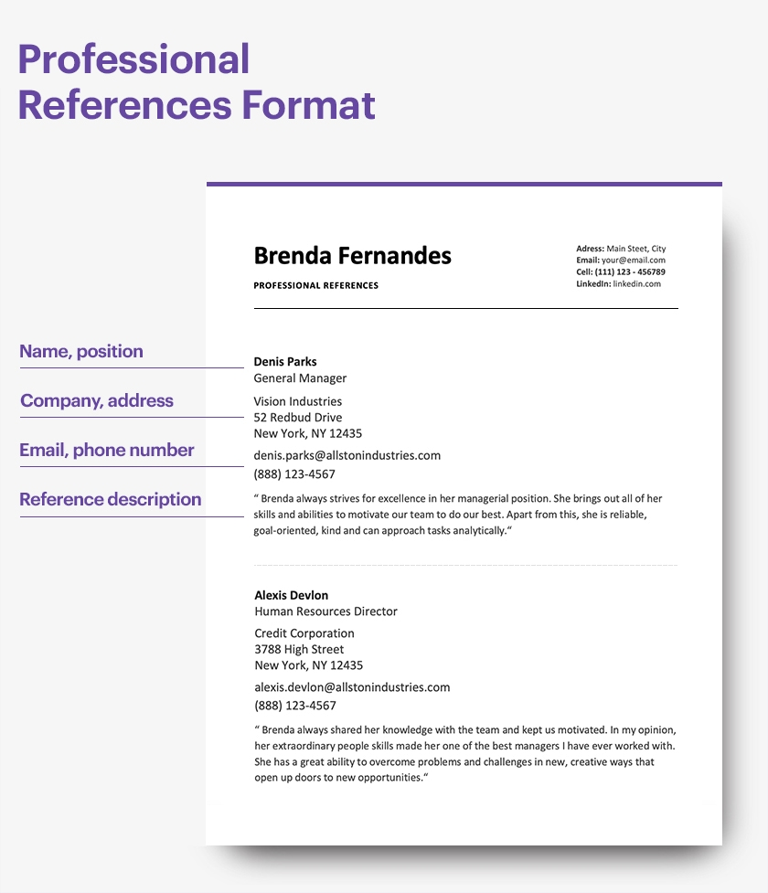 Professional References Format