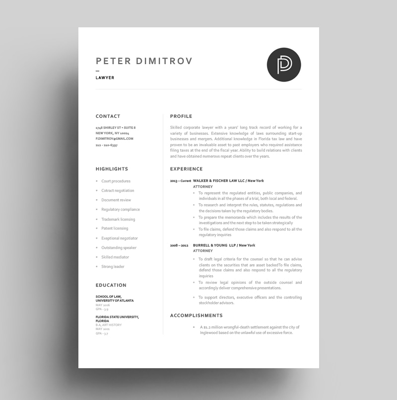 Resume Corporate Lawyer