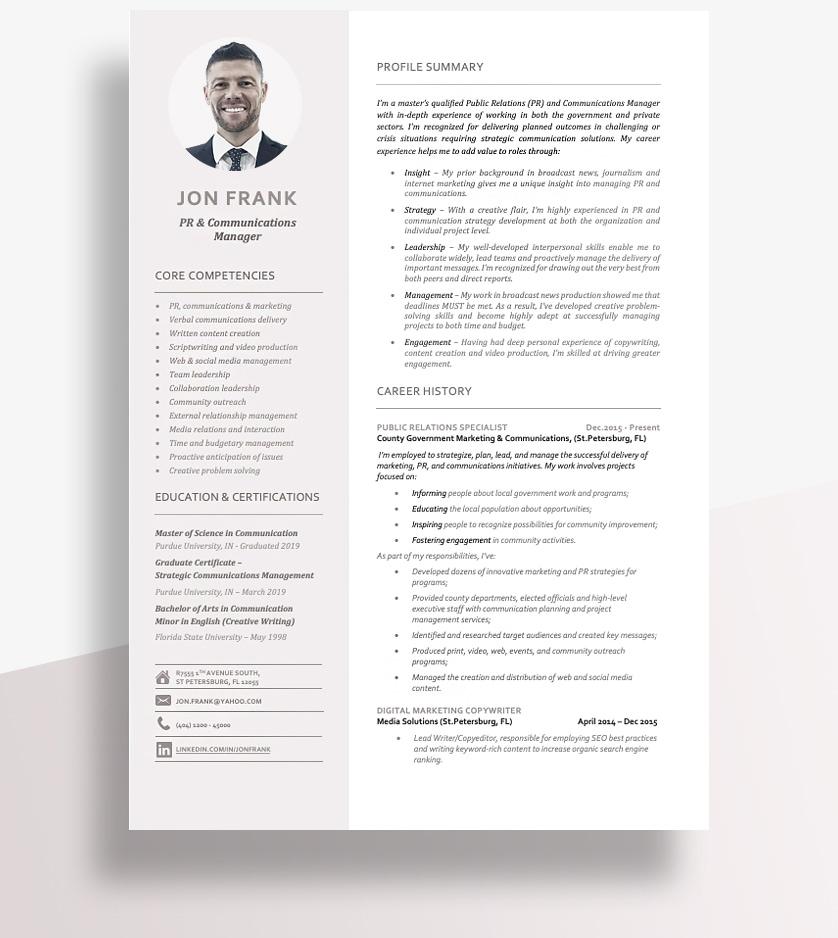 Resume Format Combination Copy