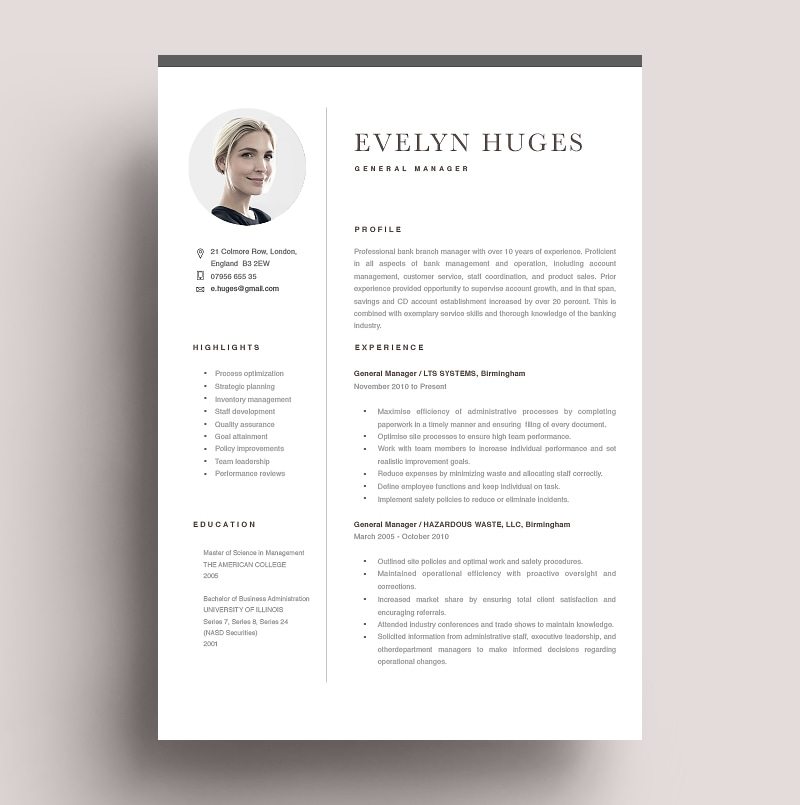 Resume General Manager