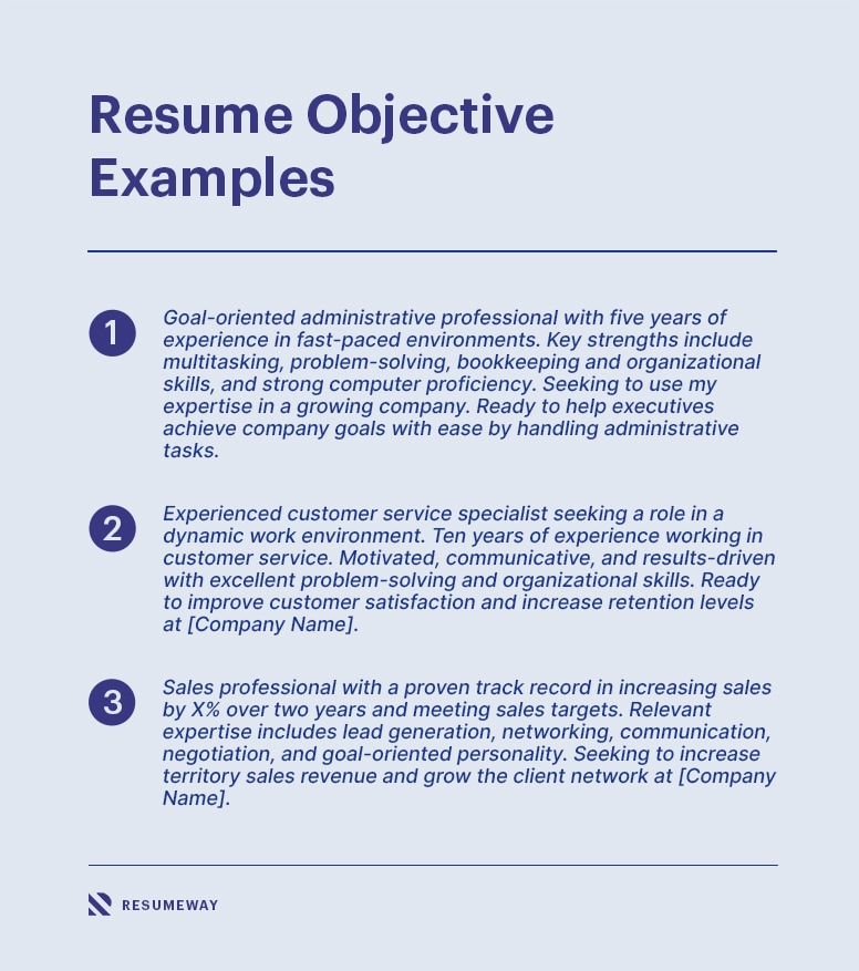 resume objective in 2021 writing tips  examples  resumeway