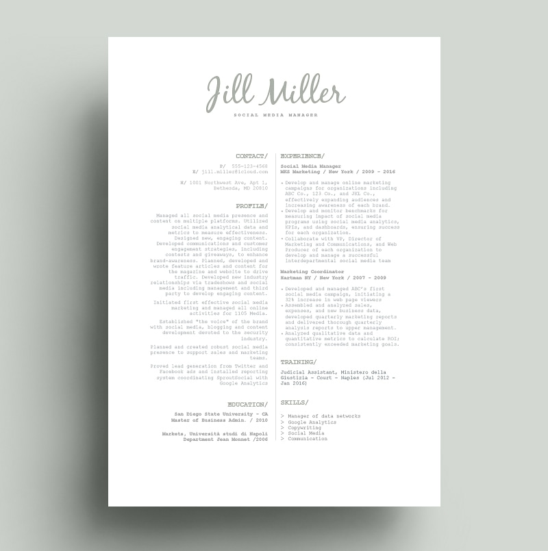 Resume Social Manager