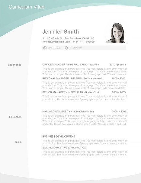 Resume Template 105040