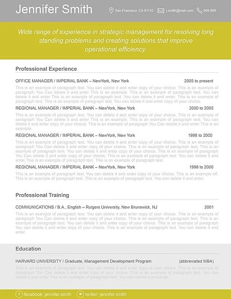 Resume Template 110350