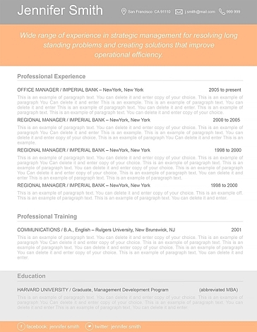 Resume Template 110360