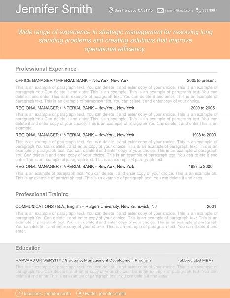 Resume Template 110360