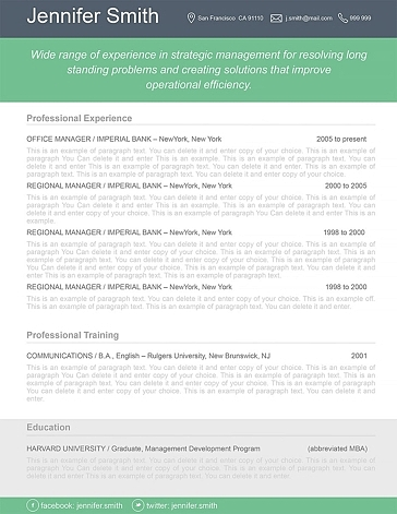 Resume Template 110380