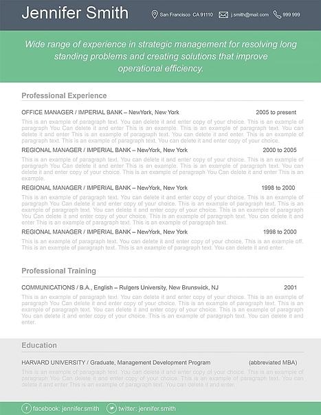 Resume Template 110380