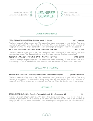 Resume Template 110390